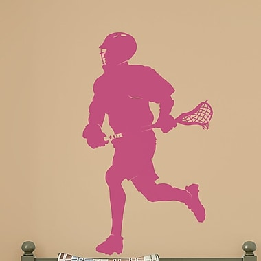 Wallums Wall Decor Male Lacrosse Player Silhouette Wall Decal; Pink