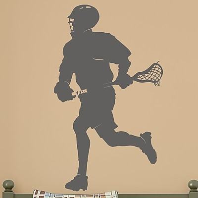 Wallums Wall Decor Male Lacrosse Player Silhouette Wall Decal; Dark Gray