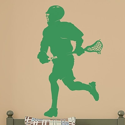Wallums Wall Decor Male Lacrosse Player Silhouette Wall Decal; Green