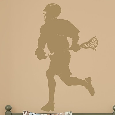 Wallums Wall Decor Male Lacrosse Player Silhouette Wall Decal; Gold Metallic