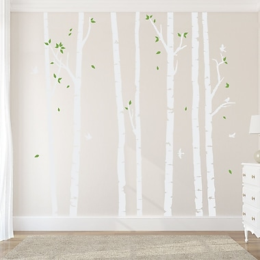 Wallums Wall Decor Birch Tree Forest Wall Decal; White/Lime Green