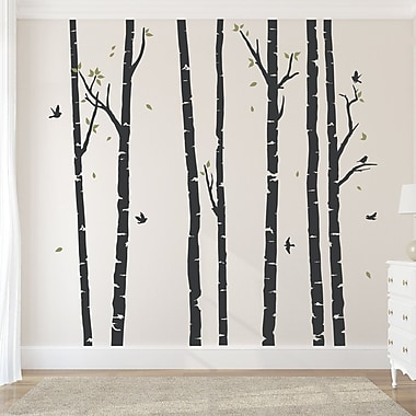 Wallums Wall Decor Birch Tree Forest Wall Decal; Black/Olive