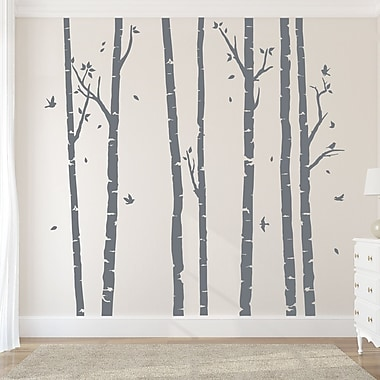 Wallums Wall Decor Birch Tree Forest Wall Decal; Storm Gray/Storm Gray
