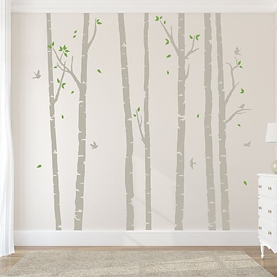 Wallums Wall Decor Birch Tree Forest Wall Decal; Warm Gray/Lime Green