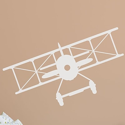 Wallums Wall Decor Vintage Plane Wall Decal; White