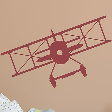 Wallums Wall Decor Vintage Plane Wall Decal; Dark Red