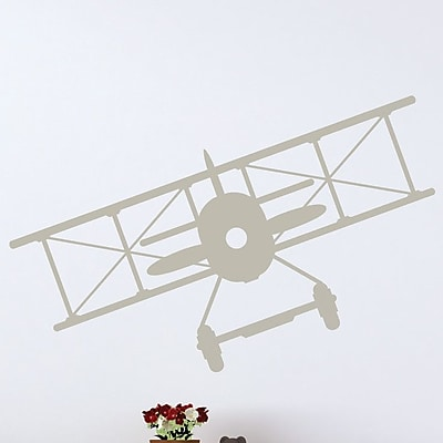 Wallums Wall Decor Vintage Plane Wall Decal; Warm Gray