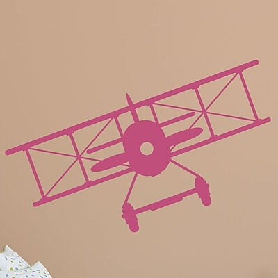 Wallums Wall Decor Vintage Plane Wall Decal; Pink