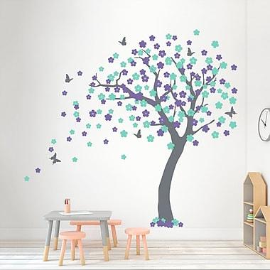 Wallums Wall Decor Cherry Blossom Tree Wall Decal; Storm Gray/Lavender/Mint