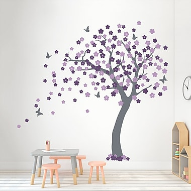 Wallums Wall Decor Cherry Blossom Tree Wall Decal; Storm Gray/Lilac/Violet