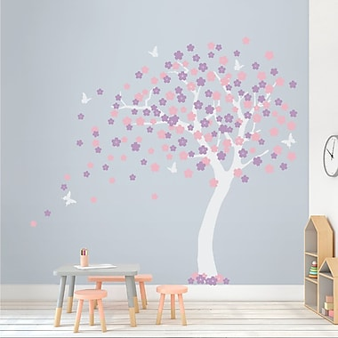 Wallums Wall Decor Cherry Blossom Tree Wall Decal; White/Carnation Pink/Lilac