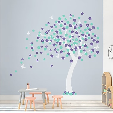 Wallums Wall Decor Cherry Blossom Tree Wall Decal; White/Lavender/Mint