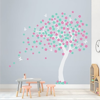 Wallums Wall Decor Cherry Blossom Tree Wall Decal; White/Mint/Soft Pink