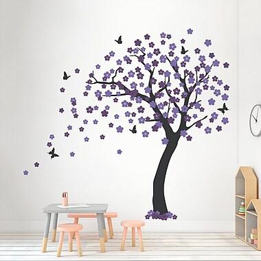 Wallums Wall Decor Cherry Blossom Tree Wall Decal; Black/Lilac/Violet