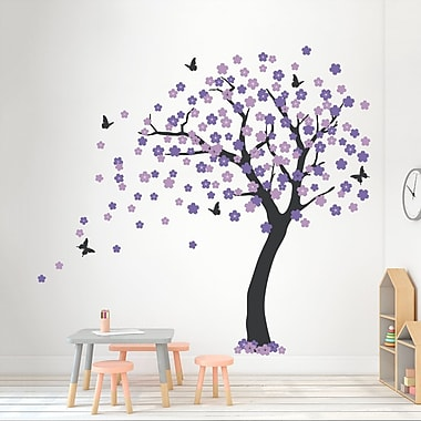 Wallums Wall Decor Cherry Blossom Tree Wall Decal; Black/Lilac/Lavender