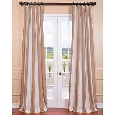 Highland Dunes Kamryn Creme Nougat Striped Blackout Tab Top Single Curtain Panel; 50'' W x 108'' L