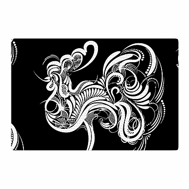 East Urban Home Maria Bazarova Cockerel Illustration Black/White Area Rug; 2' x 3'