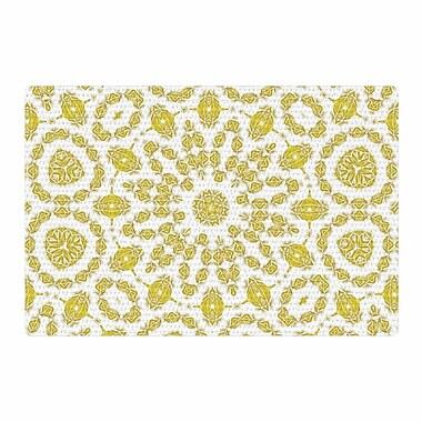 East Urban Home Alison Coxon Flaxen Mandala White/Yellow Digital Area Rug; 2' x 3'