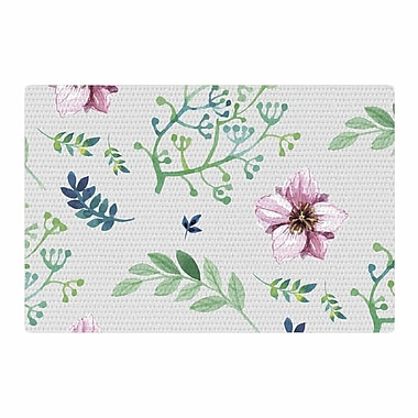 East Urban Home Louise Summer Flower Pattern Pink/Green Area Rug; 2' x 3'