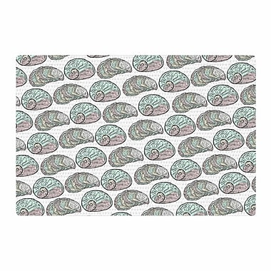 East Urban Home Pom Graphic Design Retro Sea Shells Nautical Black/White Area Rug; 2' x 3'