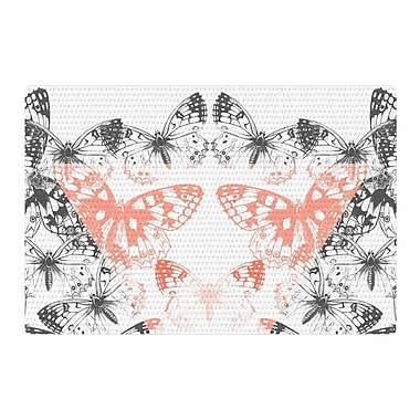 East Urban Home Victoria Krupp Geo Butterflies Illustration Pastel Gray Area Rug; 2' x 3'