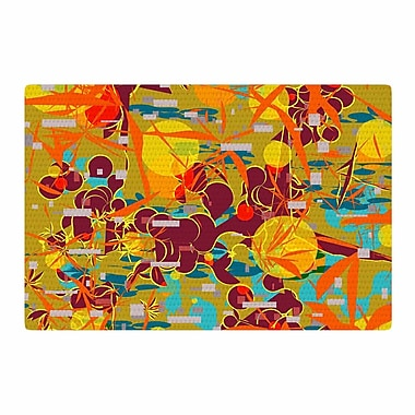 East Urban Home Frederic Levy-Hadida Foliage Folie 3 Maroon Digital Yellow Area Rug; 2' x 3'