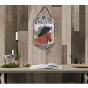 "TrendyDecor4U Horse,  slates, porch, garden,-13""x7.75"" Framed Print (LP-100)"