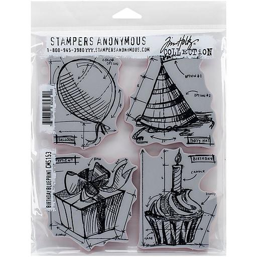 tim holtz cling stamps 7 x8 5 birthday blueprint staples. Black Bedroom Furniture Sets. Home Design Ideas