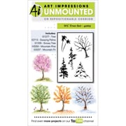 """Art Impressions Watercolor Cling Rubber Stamps 4""""X7""""-Tree Set"""