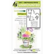 "Art Impressions Watercolor Cling Rubber Stamps 4""X7""-EZ Project A"