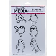 "Dina Wakley Media Cling Stamps 6""X9""-Scribbly Small Birdies"