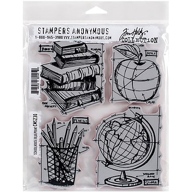 Tim holtz cling stamps 7x85 schoolhouse blueprint staples tim holtz cling stamps 7 malvernweather Images