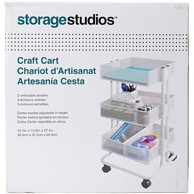 Storage Studios Rolling Craft Cart W/3 Bins-27.5