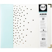 "We R Designer Faux Leather D-Ring Album 12""X12""-Mint W/Gold Foil Dots"