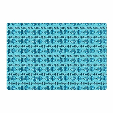 East Urban Home Jane Smith Diamond Stripe Illustration Blue/Gray Area Rug; 2' x 3'
