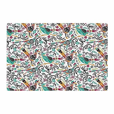 East Urban Home Pom Graphic Design Otomi Folk Birds Teal Illustration Black Area Rug; 2' x 3'