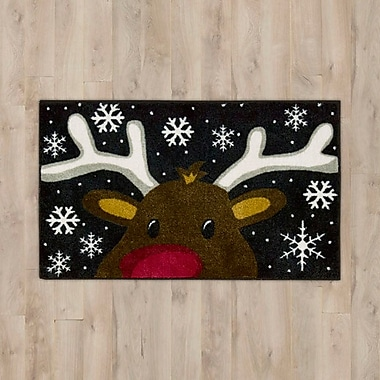 The Holiday Aisle Reindeer Black Area Rug; 1.5' x 2.5'