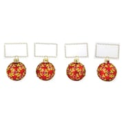 The Holiday Aisle Berries and Place Card Holder Shaped Ornament (Set of 4)