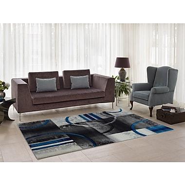 Ebern Designs Collier Gray/Blue Area Rug; 6'5'' x 9'5''