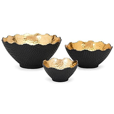 Willa Arlo Interiors 3 Piece Black/Gold Decorative Bowl Set