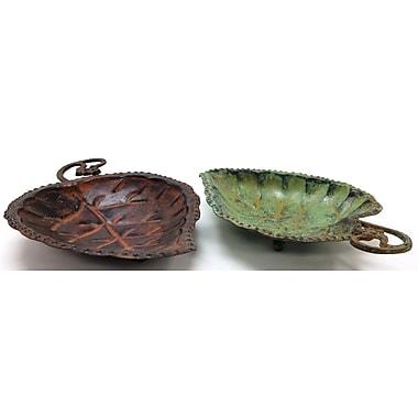 Fleur De Lis Living 2 Piece Brass Decorative Plate Set