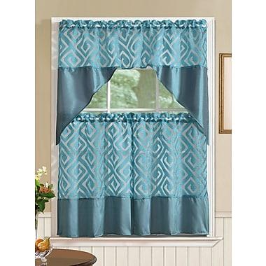 Bloomsbury Market Clarisse Printed 3 Piece Kitchen Curtain Set; Teal