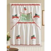 August Grove Marcel Strawberry 3 Piece Kitchen Curtain Set