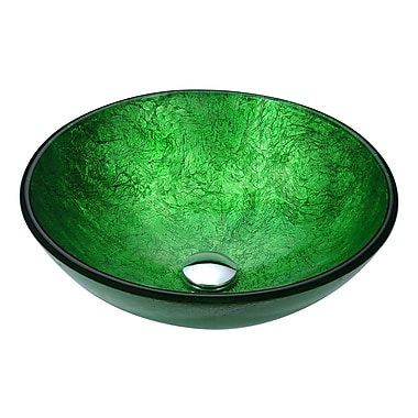 ANZZI Posh Circular Vessel Bathroom Sink; Celestial Green