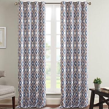 Varick Gallery Whitely Diamond Printed Geometric Room Darkening Grommet Single Curtain Panel; Navy