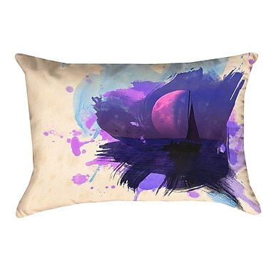 Brayden Studio Houck Watercolor Moon and Sailboat Cotton Lumbar Pillow
