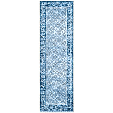 Mistana Norwell Silver & Blue Area Rug; Square 8'