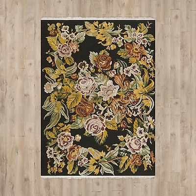 August Grove Chelsea Hand-Woven Wool Black Area Rug; Runner 2'6'' x 10'