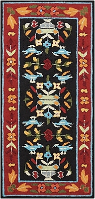 August Grove Chatelaine Hand-Tufted Black/Red Area Rug; Round 3'9''