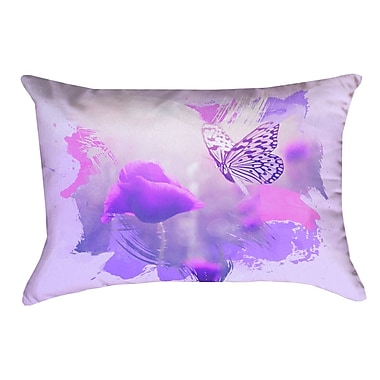 August Grove Elwyn Contemporary Watercolor Butterfly and Rose Rectangular Lumbar Pillow